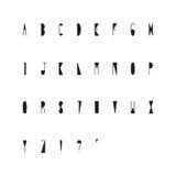 Hand drawn narrow alphabet Stock Photography