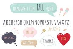 Hand drawn narrow font. Tall alphabet. Doodle. Stock Image
