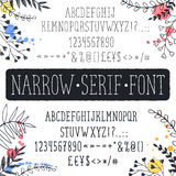 Hand drawn narrow letters Royalty Free Stock Photos
