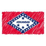 Hand Drawn National Flag Of Arkansas Isolated On A White Background. Vector Sketch Style Illustration. vector illustration