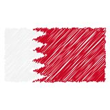 Hand Drawn National Flag Of Bahrain Isolated On A White Background. Vector Sketch Style Illustration. Unique Pattern Design For Brochures, Printed Materials vector illustration