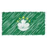 Hand Drawn National Flag Of Macau Isolated On A White Background. Vector Sketch Style Illustration. vector illustration