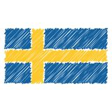 Hand Drawn National Flag Of Sweden Isolated On A White Background. Vector Sketch Style Illustration. royalty free illustration