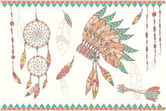 Hand drawn native american dream catcher, beads and feathers. Hand drawn native american dream catcher, indian chief headdress, feathers, beads and arrows Stock Photos