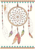 Hand drawn native american dream catcher, beads and feathers. Vector illustration Stock Images