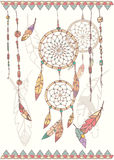 Hand drawn native american dream catcher, beads and feathers Royalty Free Stock Image