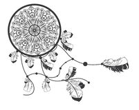 Hand Drawn Native American Dreamcatcher With Feathers Royalty Free Stock Photo