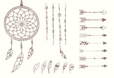 Hand drawn native american feathers, dream catcher, beads and arrows Royalty Free Stock Images