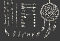 Hand drawn native american feathers, dream catcher, beads and arrows Royalty Free Stock Photos