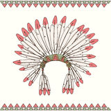 Hand drawn native american indian chief headdress