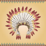 Hand drawn native american indian chief headdress Stock Images