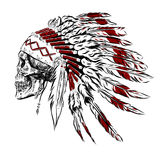 Hand Drawn Native American Indian Feather Headdress With Human Skull. Vector Illustration Stock Image