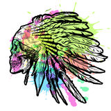 Hand Drawn Native American Indian Feather Headdress With Human Skull. Vector Watercolor Illustration Stock Images