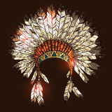 Hand Drawn Native American Indian Headdress. Vector Color Illustration Of Indian Tribal Chief Feather Hat Stock Photography