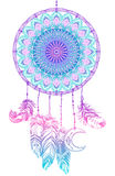 Hand drawn Native American Indian talisman dreamcatcher with fea Stock Image