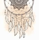 Hand drawn Native American Indian talisman dreamcatcher with fea vector illustration