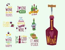 Hand drawn natural badges and labels for wine vector illustration restaurant alcohol menu sign. Hand drawn natural badges and labels for wine. Vector Royalty Free Stock Images