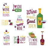Hand drawn natural badges and labels for wine vector illustration restaurant alcohol menu sign. Hand drawn natural badges and labels for wine. Vector Royalty Free Stock Photos