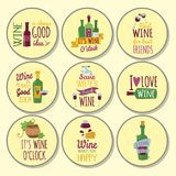 Hand drawn natural badges and labels. For wine. Vector illustration restaurant alcohol menu sign. Drink banner graphic vineyard emblem Royalty Free Stock Photo