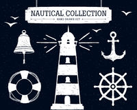 Hand drawn nautical collection on the black background. Hand drawn nautical collection of lighthouse, anchor, ship helm, lifebuoy, bell on black background Stock Images
