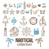 Hand drawn nautical collection. Marine icon set. Sea and ocean Stock Image