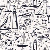 Hand drawn nautical icon set. Vector seamless pattern vector illustration