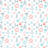 Hand drawn nautical seamless pattern of marine symbols. Cartoon. Marine icons. Vector illustration Stock Photo