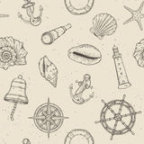 Hand drawn nautical seamless pattern. Vector illustration eps10 Stock Image