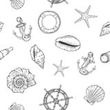 Hand drawn nautical seamless pattern. Vector illustration eps10 Royalty Free Stock Photos