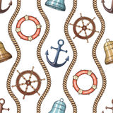 Hand drawn nautical seamless pattern. Vector illustration eps10 Royalty Free Stock Image