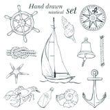Hand drawn nautical set Royalty Free Stock Image