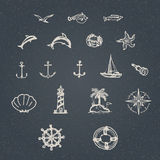 Hand drawn nautical set Stock Photos