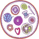 Hand-drawn needlework elements Stock Image