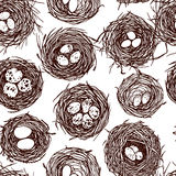 Hand drawn nests pattern. Vector seamless pattern with hand drawn bird nests with eggs. Graphic style, beautiful design elements, perfect for prints and patterns Royalty Free Stock Photography