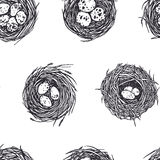 Hand drawn nests pattern. Vector seamless pattern with hand drawn bird nests with eggs. Graphic style, beautiful design elements, perfect for prints and patterns Royalty Free Stock Images