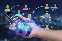 Hand drawn network interaction with different group of people on. View of a Hand drawn network interaction with different group of people on a futuristic stock images