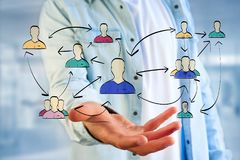 Hand drawn network interaction with different group of people on. View of a Hand drawn network interaction with different group of people on a futuristic stock photos