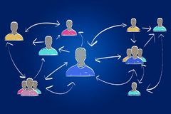 Hand drawn network interaction with different group of people on. View of a Hand drawn network interaction with different group of people on a color background stock photography