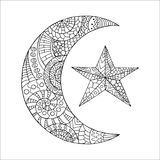 Hand drawn new moon and star for anti stress colouring page. Pattern for coloring book. Made by trace from sketch. Illustration in zentangle style. Monochrome Stock Image