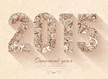 Hand drawn new year 2015  background ornament Stock Images