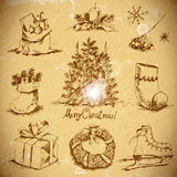 Hand-drawn New Year and Christmas set Stock Image