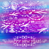 Hand drawn New Year doodle greeting card Royalty Free Stock Image