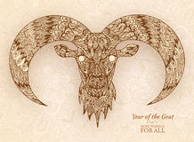Hand drawn new year 2015 of goat background Stock Photography