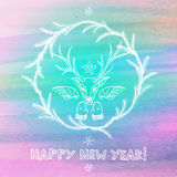 Hand drawn New Year greeting card Royalty Free Stock Image