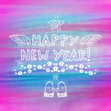 Hand drawn New Year greeting card Royalty Free Stock Photography
