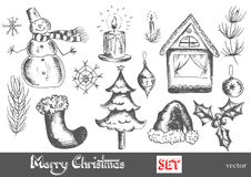 Hand drawn New Year and Merry Christmas set Royalty Free Stock Images