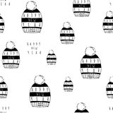 Hand drawn new year seamless pattern Stock Photos
