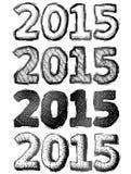 Hand drawn New Year 2015 Royalty Free Stock Image