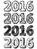Hand drawn New Year 2016 Royalty Free Stock Photo