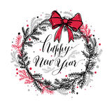 Hand drawn new years wreath with red bow and calligraphic text. Happy New Year royalty free illustration